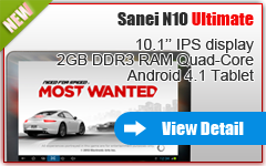 10.1 inch Quad Core Android tablet Sanei N10 ultimate