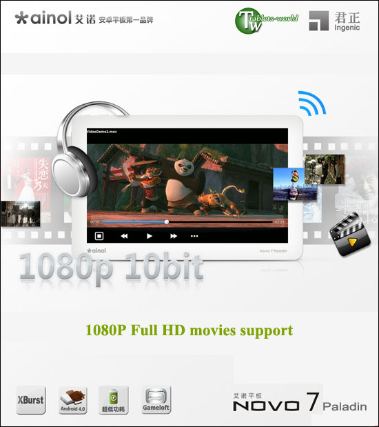 ainol novo7 paladin google android 4.0 ice cream sandwich os 1ghz 7'' capacitive tablet pc white version