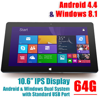 10.6 inch IPS Intel 64-bit Android Win8 Cube i10 Dual-System Tablet 64GB