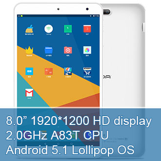 8.0 inch HD IPS A83T Onda V80 Octa-Core Android 5.1 Tablet PC