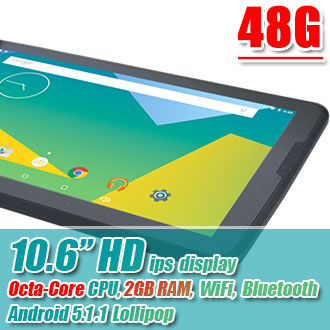 10.6 inch HD IPS Octa Core CPU 2GB RAM Android Tablet 48GB Bundle