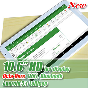 10.6 inch HD IPS Octa Core Tablet Google Android 5.1 Bluetooth WiFi 48GB Bundle