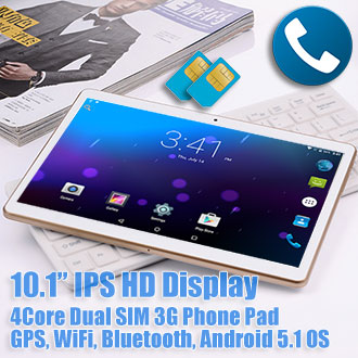 10.1 inch Android 5.1 GPS Tablet Dual SIM 3G Phablet 48GB Bundle