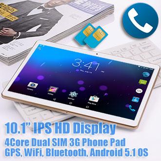 10.1 inch Android 5.1 GPS Tablet Dual SIM 3G Phablet 48GB Bundle