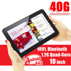 10 inch Tablet PC Android 4.4 KitKat WiFi Bluetooth Quad-Core CPU 40GB Bundle