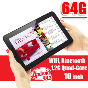 10 inch Tablet PC Android 4.4 KitKat WiFi Bluetooth Quad-Core CPU 64GB Bundle