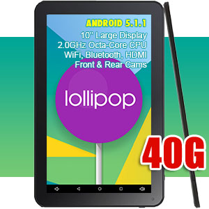 10 inch Tablet PC Android 5.1 Lollipop WiFi Bluetooth Octa-Core CPU 40GB Bundle