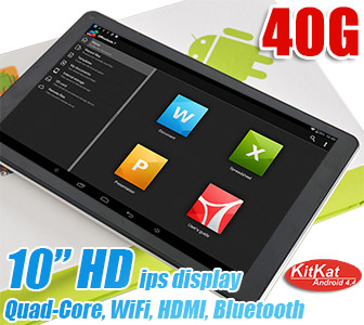 10 inch HD IPS Quad Tablet Google Android 4.4 Bluetooth HDMI WiFi 40GB