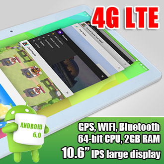 10 inch Display 64-bit CPU 4G LTE Android 6.0 Tablet GPS WiFi 48GB