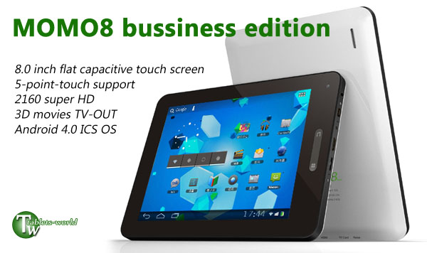 8.0'' Google Android 4.0 ICS 1500MHz 2160P 3D Ployer MOMO8 business edtion WiFi tablet PC webcam Flash