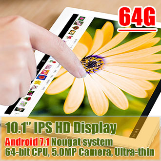 10.1in Android 7.1 Tablet PC Octa Core CPU 2.4G/5G WiFi 64GB Bundle